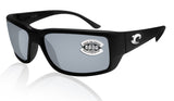 Costa Del Mar Fantail Black Frame Gray Silver Mirror 580G Glass Polarized Lens