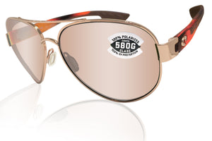 Costa Del Mar South Point Rose Gold Tortoise Copper Silver Mirror 580 Glass Lens
