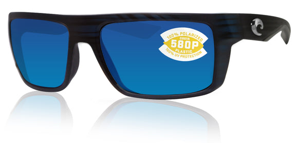Costa Del Mar Motu Black Teak Frame Blue Mirror 580P Plastic Polarized Lens