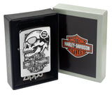 Zippo 29281 Harley Davidson Skull High Polish Chrome Windproof Pocket Lighter