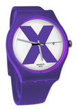 Swatch SUOV401 XX Rated Purple White Analog Date Dial Silicone Band Watch