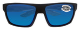 Costa Del Mar Bloke Black Gray Frame Blue Mirror 580G Glass Polarized Lens