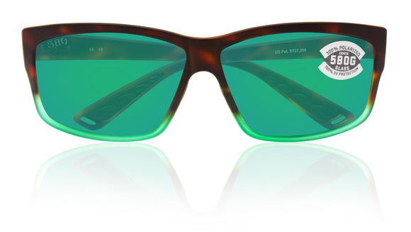 Costa Del Mar Cut Tortuga Fade Frame Green Mirror 580G Glass Polarized Lens