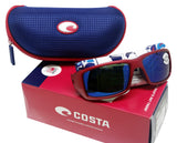 Costa Del Mar Fantail Red Frame Blue Mirror 580G Glass Polarized Lens