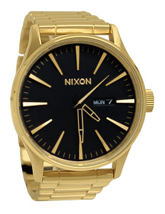 Nixon A356510 Sentry SS All Gold Black Day Date Steel Watch