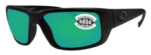 Costa Del Mar Fantail Blackout Frame Green Mirror 580 Glass Polarized Lens