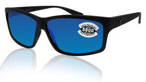 Costa Del Mar Cut Blackout Frame Blue Mirror 580G Glass Polarized Lens