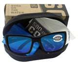Costa Del Mar Blackfin Matte Black Frame Blue Mirror 580 Glass Polarized Lens