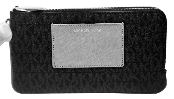 Michael Kors Bedford Black Grey Double Zip Pocket Large Wallet 32F6SBFW7B New