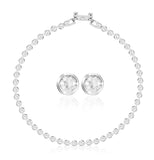 Swarovski tennis set crystal necklace earrings white rhodium plated 5007747