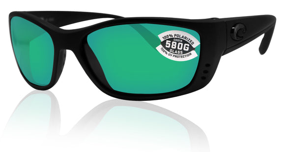 Costa Del Mar Fisch Black Frame Green Mirror 580G Glass Polarized Lens