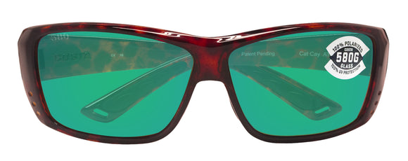 Costa Del Mar Cat Cay Tortoise Frame Green Mirror 580G Glass Polarized Lens