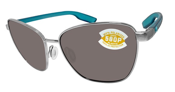 Costa Del Mar Paloma Brushed Silver Frame Gray 580 Plastic Polarized Lens