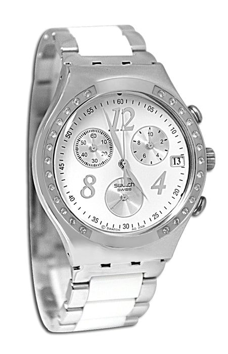 Swatch YCS511GC Dreamwhite Chronograph White Date Glitz Silver Unisex Watch NEW