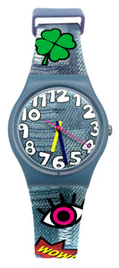 Swatch Originals GS155 Tacoon Analog Dial Blue Denim Clothes Rubber Band Watch
