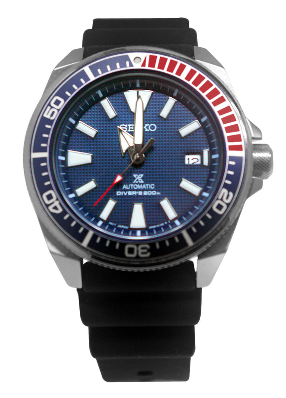 Seiko SRPB53 Prospex Samurai Automatic Blue Date Dial Black Silicone Band Watch