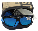 Costa Del Mar Slack Tide Shiny Black Frame Blue Mirror 580G Glass Polarized Lens