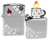 Zippo 29098 Armor High Polish Chrome Tile Mosiac Red Epoxy Flame Lighter New