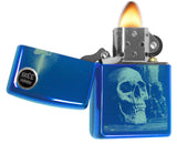 Zippo 29704 Skull with Candle High Polish Sapphire Blue Finish Windproof Lighter