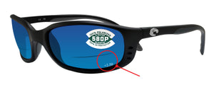 Costa Del Mar Brine Readers C-Mate Black +2.50 Blue Mirror 580P Plastic Lens