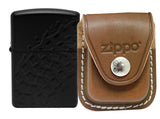 Zippo 28966 Black Matte Finish Lighter + LPCB Brown Leather Pouch Clip