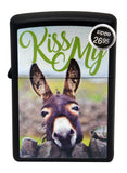 Zippo Lighter 29868 Kiss My Donkey Color image Black Matte Finish Windproof New