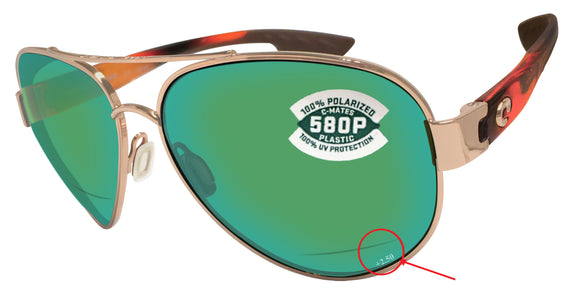 Costa Del Mar South Point Tortoise Green  C-Mate +2.50 580 Plastic lens New