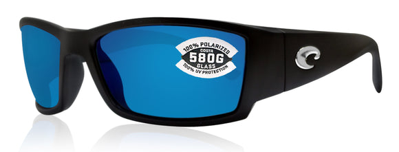 Costa Del Mar Corbina Matte Black Frame Blue Mirror 580G Glass Polarized Lens