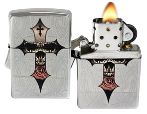 Zippo 28874 Skull Cross High Polish Chrome Windproof Pocket Lighter