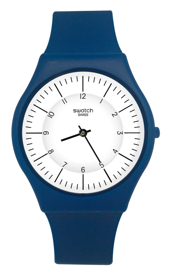 Swatch SFN124 Marmarella White Black Analog Dial Blue Rubber Band Skin Watch New