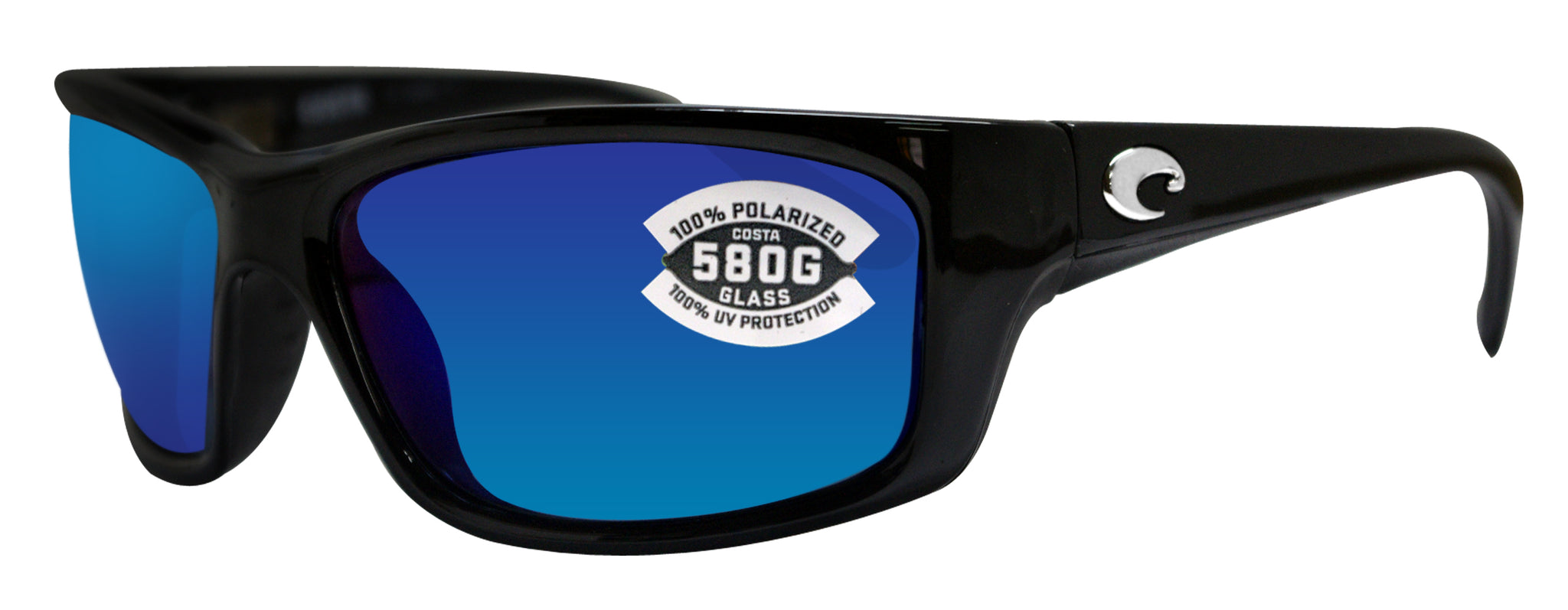 affed82c22 Costa Del Mar Jose Shiny Black Frame Blue Mirror 580G Glass Polarized Lens  ...