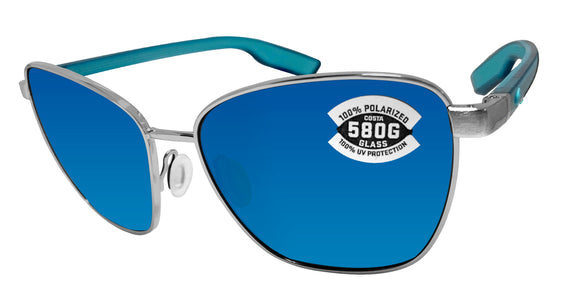 Costa Del Mar Paloma Brushed Silver Frame Blue Mirror 580 Glass Polarized Lens