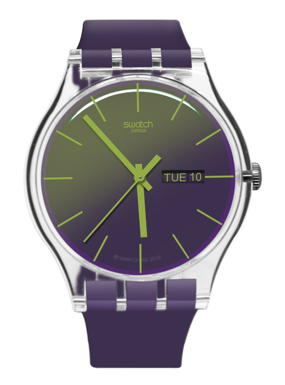 Swatch SUOK712 Polapurple Purple Green Analog Dial Silicone Band Watch New