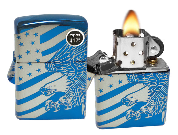 Zippo 49046 Eagle US Flag Patriotic High Polish Blue Lighter New in Box