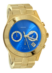 Marc Jacobs MBM3307 Blade Blue Chrono Date Dial Gold Steel Band Women Watch NEW