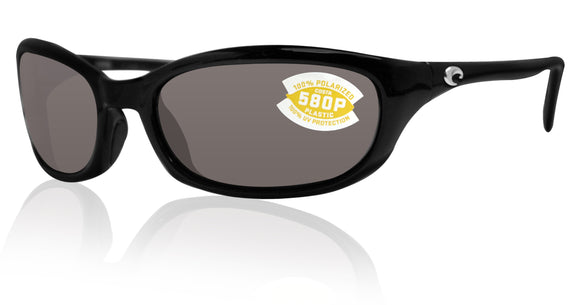 Costa Del Mar Harpoon Shiny Black Frame Gray 580P Plastic Polarized Lens