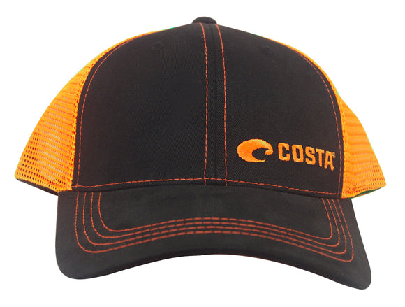 Costa Del Mar Neon Trucker Black Twill Hat Orange Adjustable NEW cap HA56NO