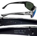 Costa Del Mar Saltbreak Silver Frame Blue Mirror 580G Glass Polarized Lens