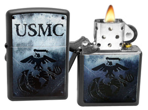Zippo 28744 United States Marine Corps Black Matte Windproof Pocket Lighter NEW