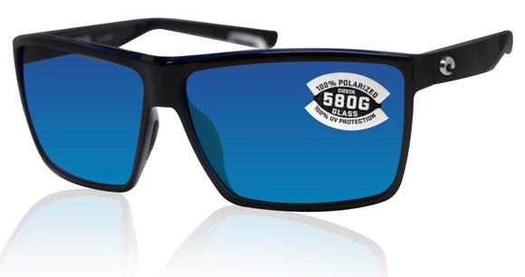 Costa Del Mar Rincon Shiny Black Frame Blue Mirror 580G Glass Polarized Lens