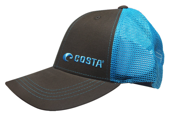Costa Del Mar Neon Trucker Black Twill Hat Blue Cotton Adjustable HA56NB cap NEW