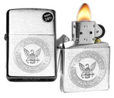 Zippo 29385 United States Navy Seal Stamp Logo Brushed Chrome Windproof Lighter