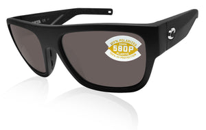 Costa Del Mar Sampan matte black frame gray 580 plastic lens