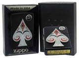 Zippo 29491 Ace of Spades Emblem Black Matte Finish Windproof Pocket Lighter New