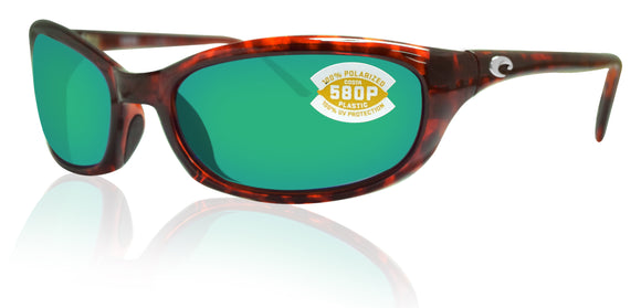 Costa Del Mar Harpoon Tortoise Frame Green Mirror 580P Plastic Polarized Lens