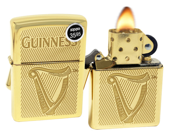 Zippo 29651 Guinness Beer Logo Gold High Polish Brass Finish Windproof Lighter