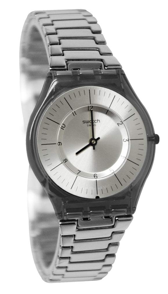 Swatch SFM134G Metalmix Silver Grey Dial Stainless Steel Bracelet Skin Watch New