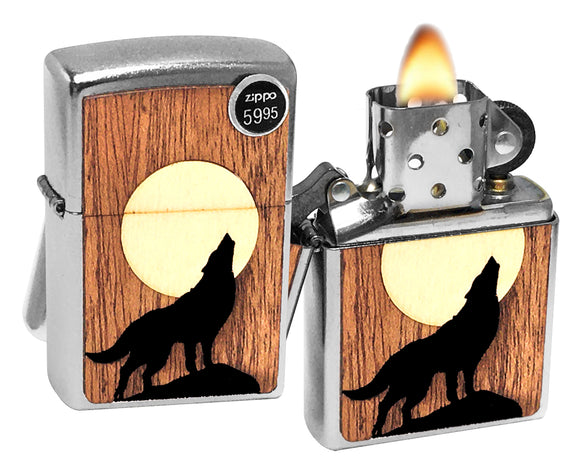 Zippo 49043 Woodchuck USA Howling Wolf Street Chrome Lighter Buy one Plant one