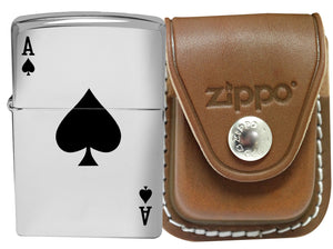 Zippo 24011 Lucky Ace High Polsih Chrome Lighter + LPCB Brown Leather Pouch Clip