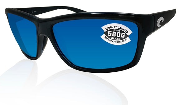 Costa Del Mar Mag Bay Shiny Black Frame Blue Mirror 580G Polarized Glass Lens